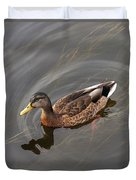 Duck Swimming In Clear Water St Duvet Cover