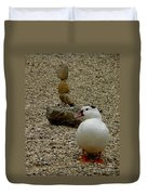 Duck With Rock Sculpture Duvet Cover
