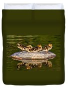 Ducklings Catch Some Rays Duvet Cover