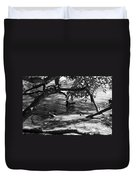 Ducks In The Shade In Black And White Duvet Cover
