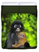 Dusky Leaf Monkey And Baby Duvet Cover