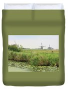 Dutch Landscape With Windmills And Cows Duvet Cover