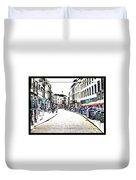 Dutch Shopping Street- Digital Art Duvet Cover