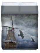 Dutch Windmill With Ravens Duvet Cover