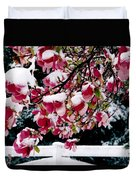 Early Magnolia Late Snow Duvet Cover
