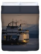 Early Morning Ferry Leaves Seattle Duvet Cover