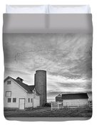 Early Morning On The Farm Bw Duvet Cover