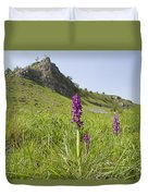 Early Purple Orchids Duvet Cover