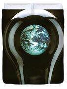 Earth In Light Bulb  Duvet Cover