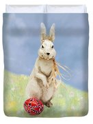 Easter Bunny With A Painted Egg Duvet Cover