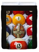 Easter Egg Among Pool Balls Duvet Cover