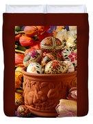 Easter Eggs In Flower Pot Duvet Cover