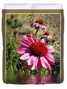 Echinacea In Water Duvet Cover