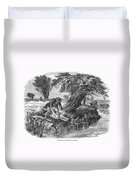Eel Fishing, 1850 Duvet Cover