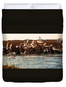 Egret And Ibis Party Duvet Cover