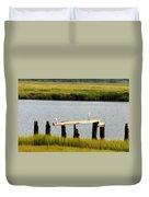Egrets In The Salt Marsh Duvet Cover