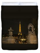 Eiffel Tower And The Seine River From Pont Alexandre At Night Duvet Cover