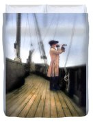 Eighteenth Century Man With Spyglass On Ship Duvet Cover