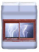 Electric Skies Red Barn Picture Window Frame Photo Art  Duvet Cover