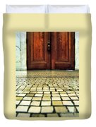 Elegant Door And Mosaic Floor Duvet Cover