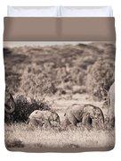 Elephants Walking In A Row Samburu Kenya Duvet Cover