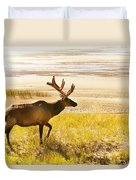 Elk Wanders On Yellow Landscape Duvet Cover