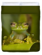 Emerald Glass Frog Centrolene Duvet Cover