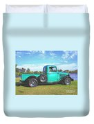 Emerald Green 1936 Ford Pickup Duvet Cover