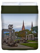 Empire State Plaza And Cathedral Of The Immaculate Conception Duvet Cover
