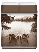 Empty Chairs On Waterfront Duvet Cover