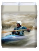 Eric Brown Paddling The Whitewater Duvet Cover