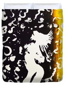 Erotic Scapegoat From Azazel Hell Satan Devil In Purple And Yellow Serigraph Swirls Holding Breasts Duvet Cover