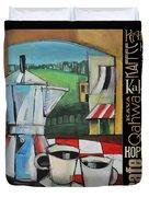 Espresso Coffee Languages Poster Duvet Cover