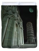 Ethereal Moonlight Scene Of Duomo Santa Duvet Cover by Carson Ganci