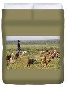 Ethiopia-south Tribal Goat Herder Duvet Cover