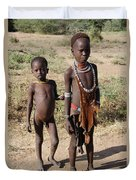 Ethiopia-south Tribesman Boy And Sister No.1 Duvet Cover