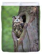 Eurasian Eagle-owl Bubo Bubo Looking Duvet Cover