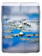 European White Waterlily Duvet Cover