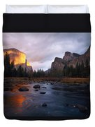Evening Sun Lights Up El Capitan Duvet Cover