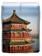 Evening Temple Of The Fragrant Buddha Duvet Cover by Mike Reid