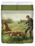 Exercising Greyhounds Duvet Cover