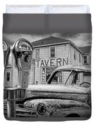 Expired A Black And White Photograph Of A Tavern Parking Meters And Vintage Junk Auto Duvet Cover