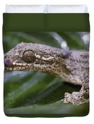 Extreme Close-up Of A Gecko In The Rain Duvet Cover