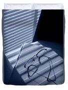 Eye Glasses Book And Venetian Blind In Blue Duvet Cover