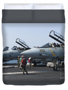 F-14d Tomcats On The Flight Deck Of Uss Duvet Cover