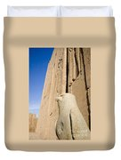 Falcon Statue At Edfu Duvet Cover by Darcy Michaelchuk