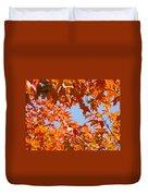 Fall Leaves Art Prints Autumn Red Orange Leaves Blue Sky Duvet Cover