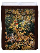 Fall Leaves Over Florida Pond Duvet Cover