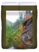Fall Peeks From Behind The Rocks Duvet Cover by Heather Kirk