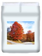 Fall Tree By The Road Duvet Cover